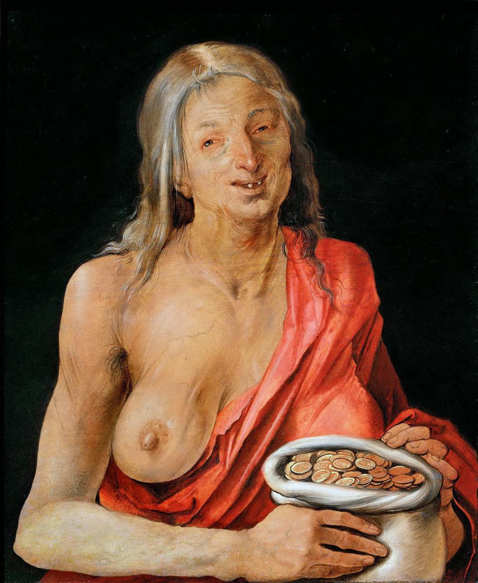Albrecht Dürer. The old woman with the purse