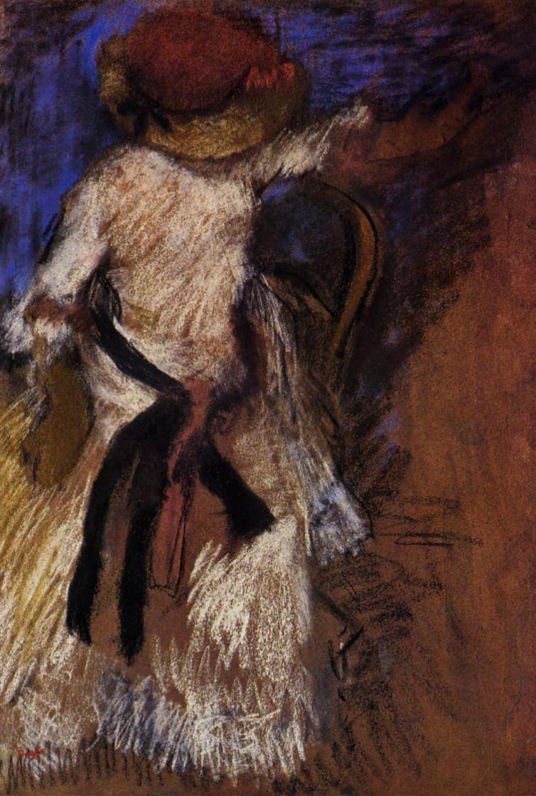 Эдгар Дега. Сидящая женщина в белом платье