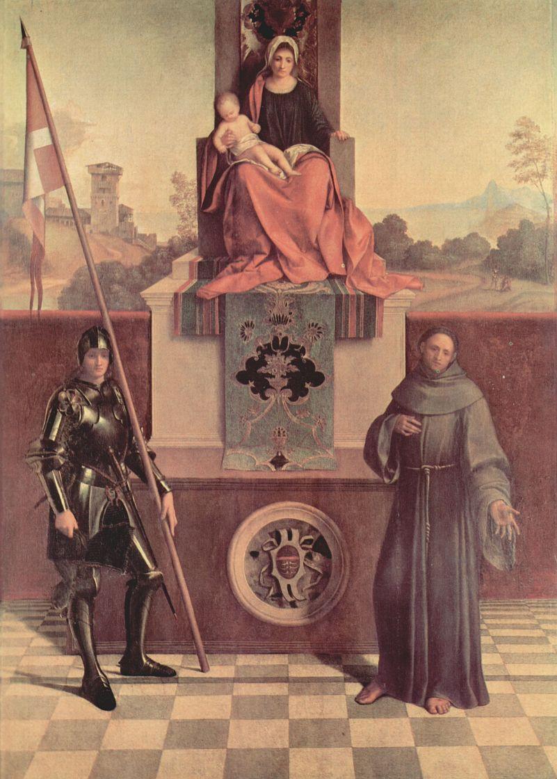 Джорджоне. Алтарь Кастельфранко, сцена: Мадонна на троне со св. Либералисом Тревизским и св. Франциском