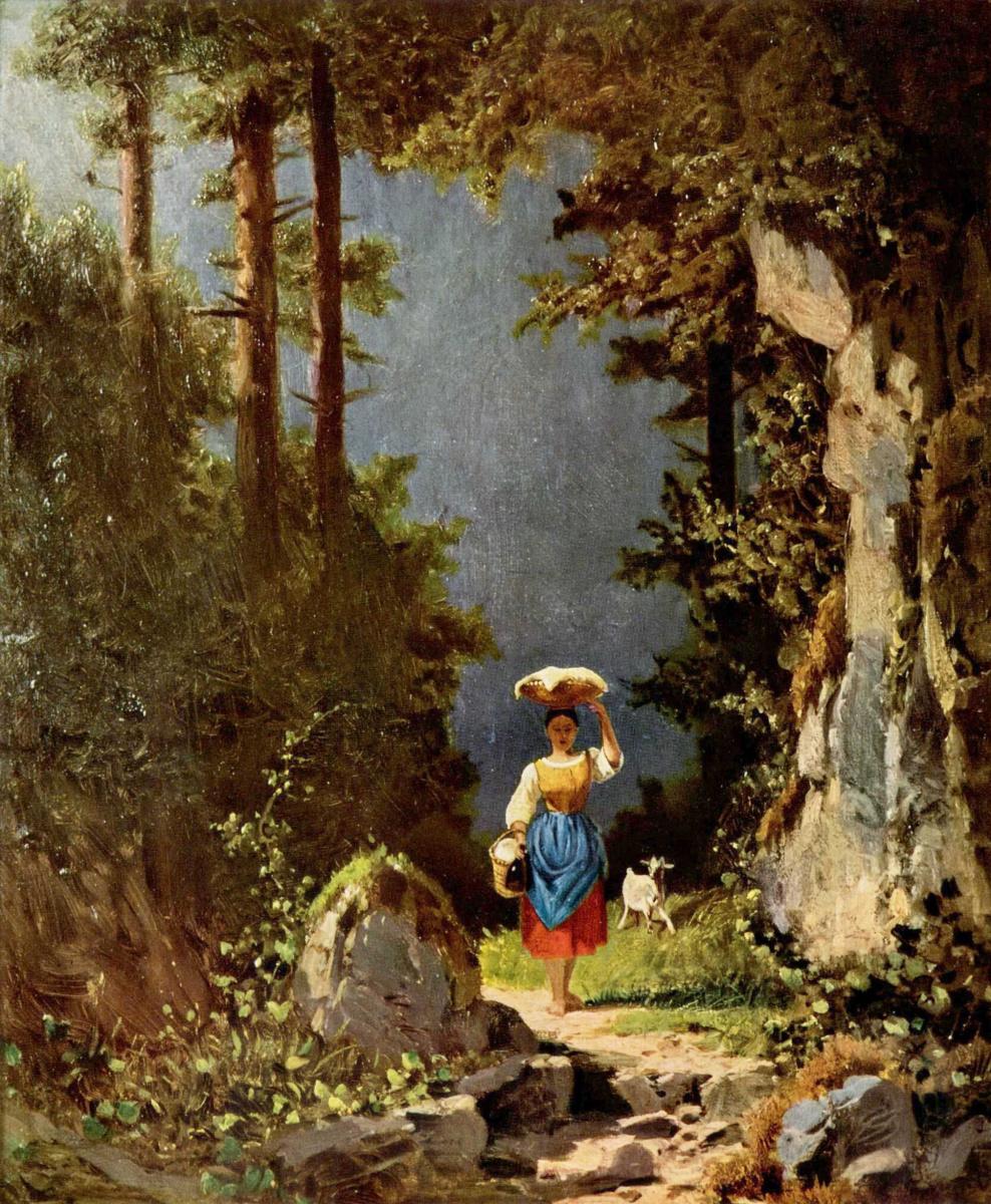 Карл Шпицвег. Девушка с козой