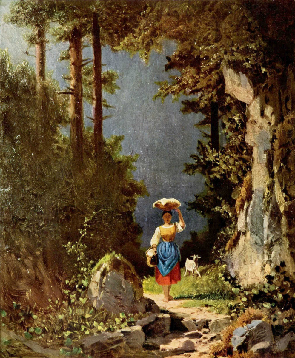 Karl Spitzweg. Girl with a goat