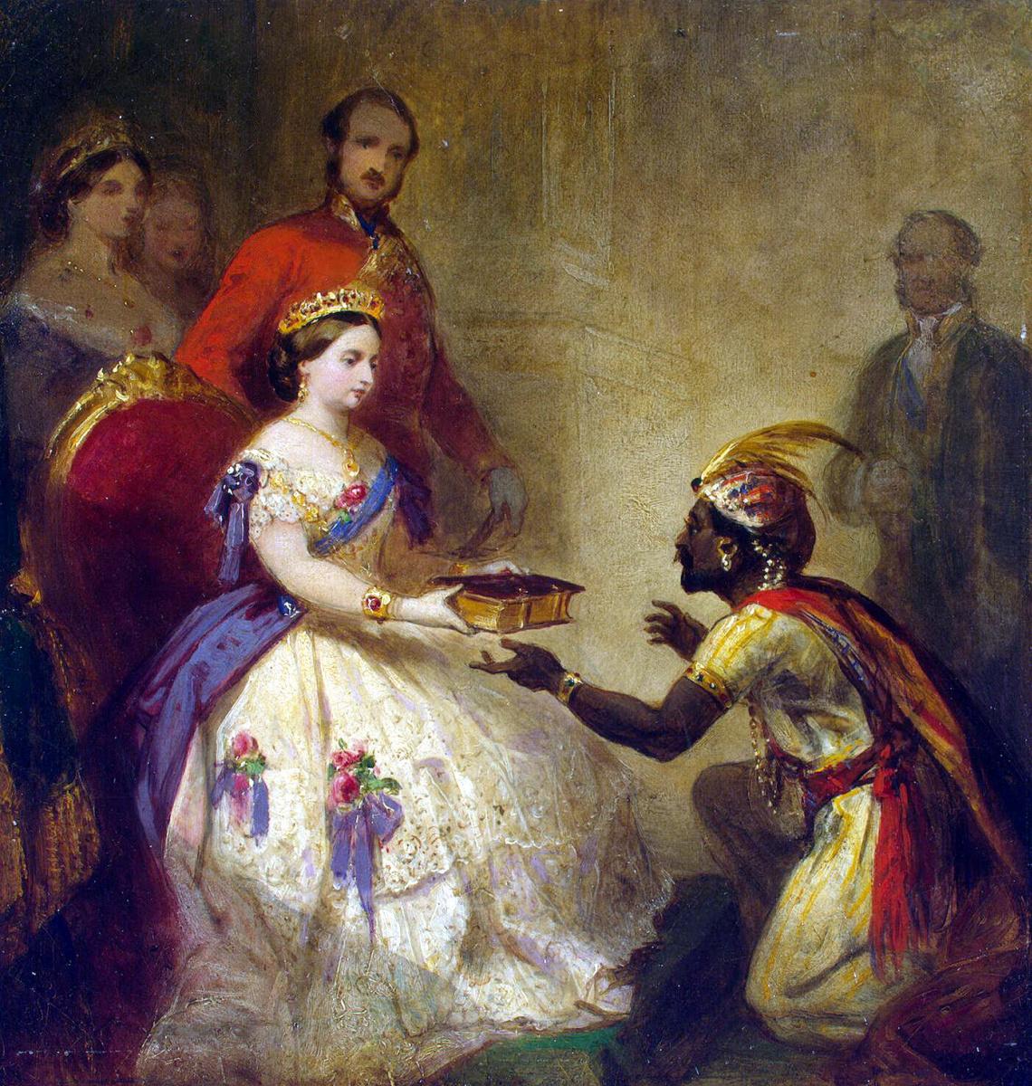 Томас Джонс Баркер. Королева Виктория вручает Библию африканскому вождю