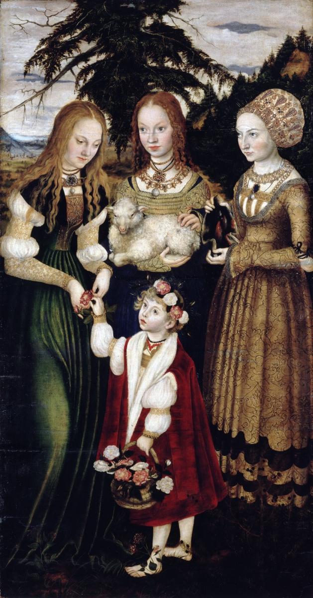 Лукас Кранах Старший. Алтарь Святой Екатерины. Святые Доротея, Агнесса и Кунигунда (фрагмент)