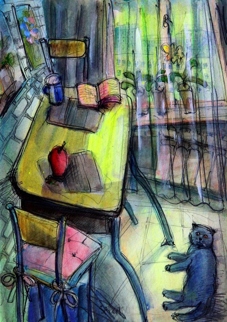 Ilya Pavlovich Spichenkov. Cat in the kitchen 2