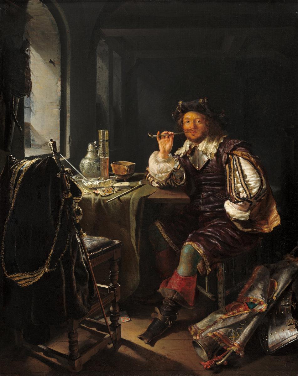 Франц ван Мирис Старший. Интерьер с солдатом, курящим трубку