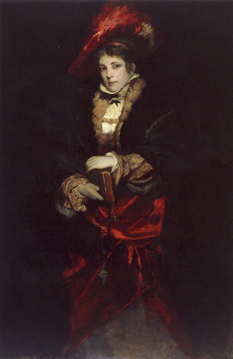 Ганс Макарт. Портрет дамы в красной шляпе с перьями