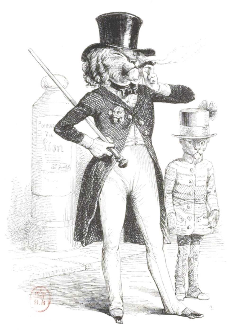 "Jean Inias Isidore (Gerard) Granville. The Parisian Lion. ""Scenes of public and private life of animals"""