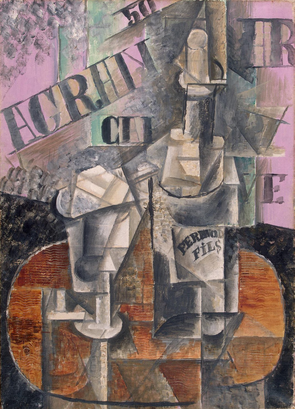 Pablo Picasso. A table in a cafe (Bottle of Pernod)