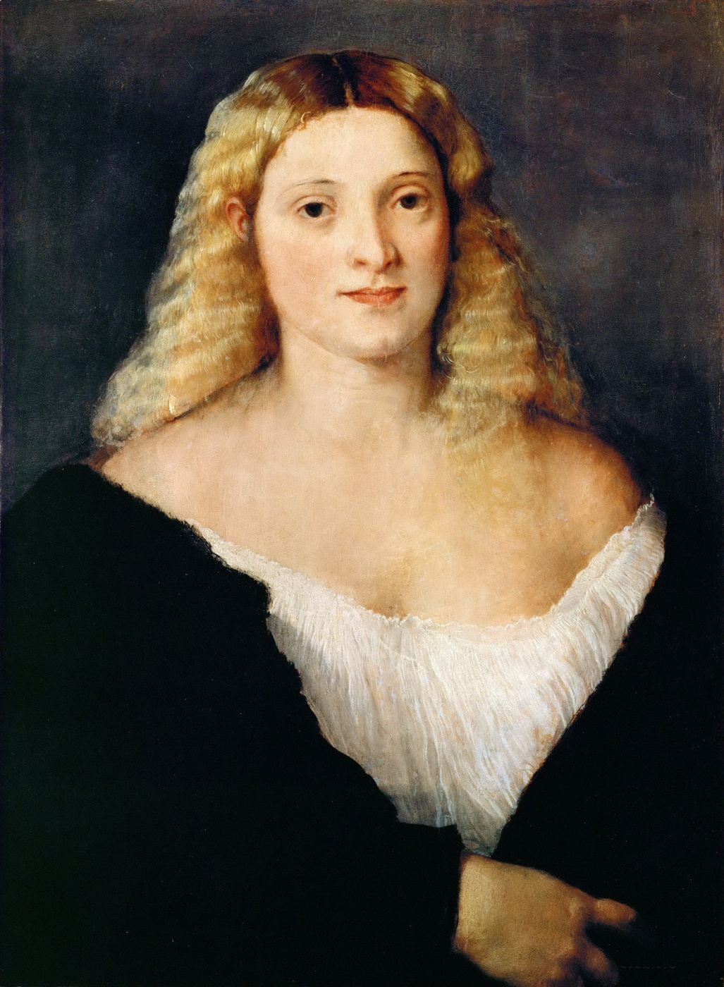 Titian Vecelli. Portrait of a young woman in a black dress