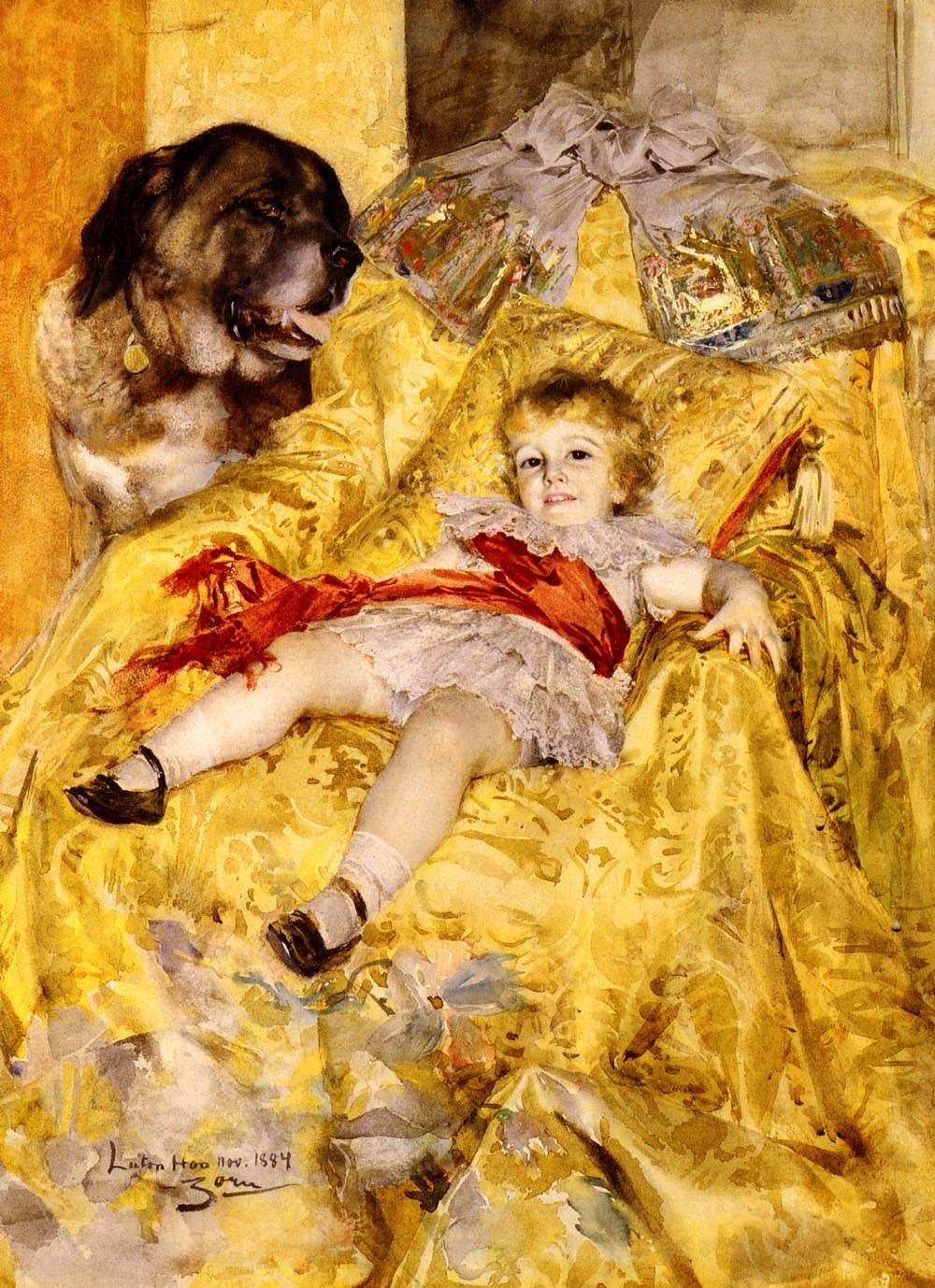 Anders Zorn. A girl with a dog