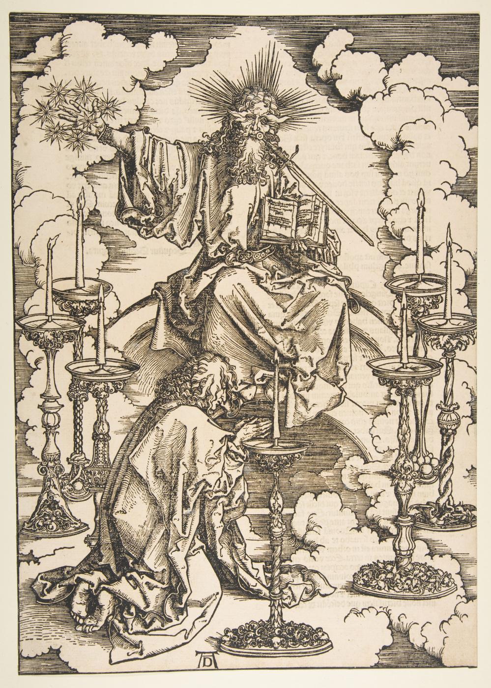Albrecht Dürer. A vision by Saint John the seven lamps
