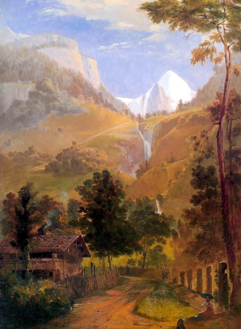 Samuel Coleman. Wetterhorn and the Reichenbach falls