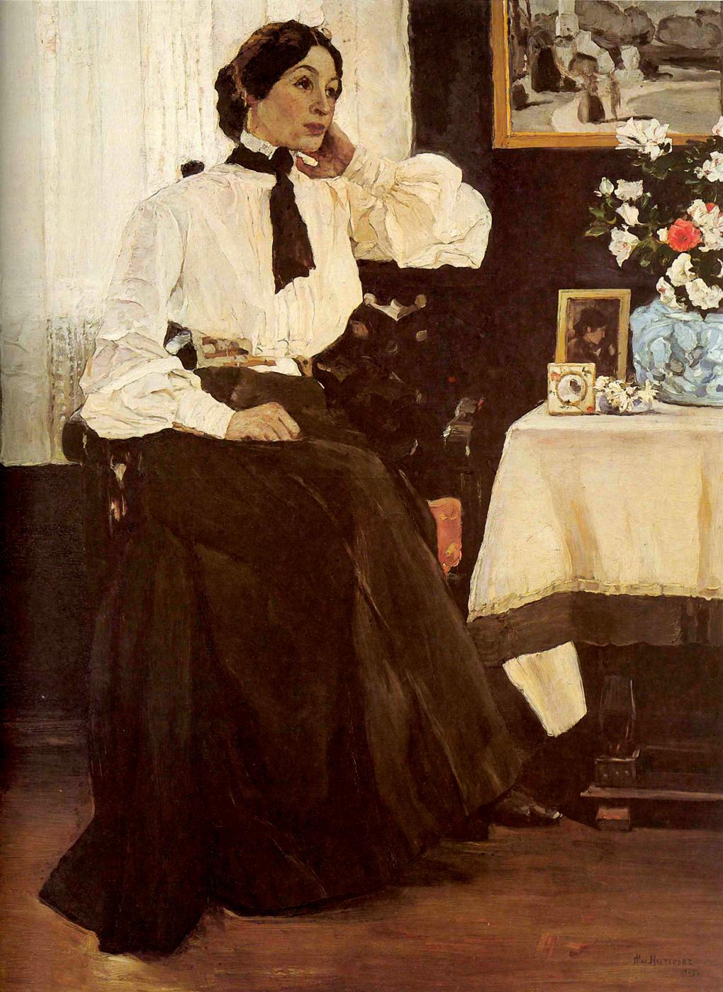 Mikhail Vasilyevich Nesterov. A portrait of his wife, E. P. Nesterova