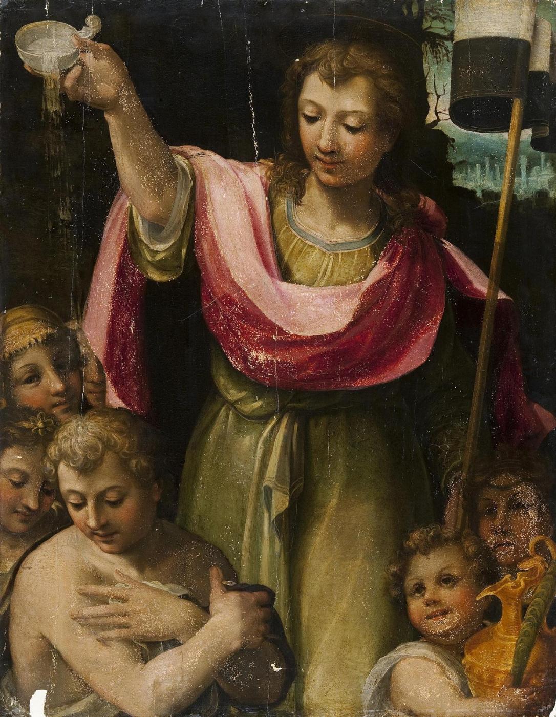 Unknown artist. Baptism of pagans. XVI century