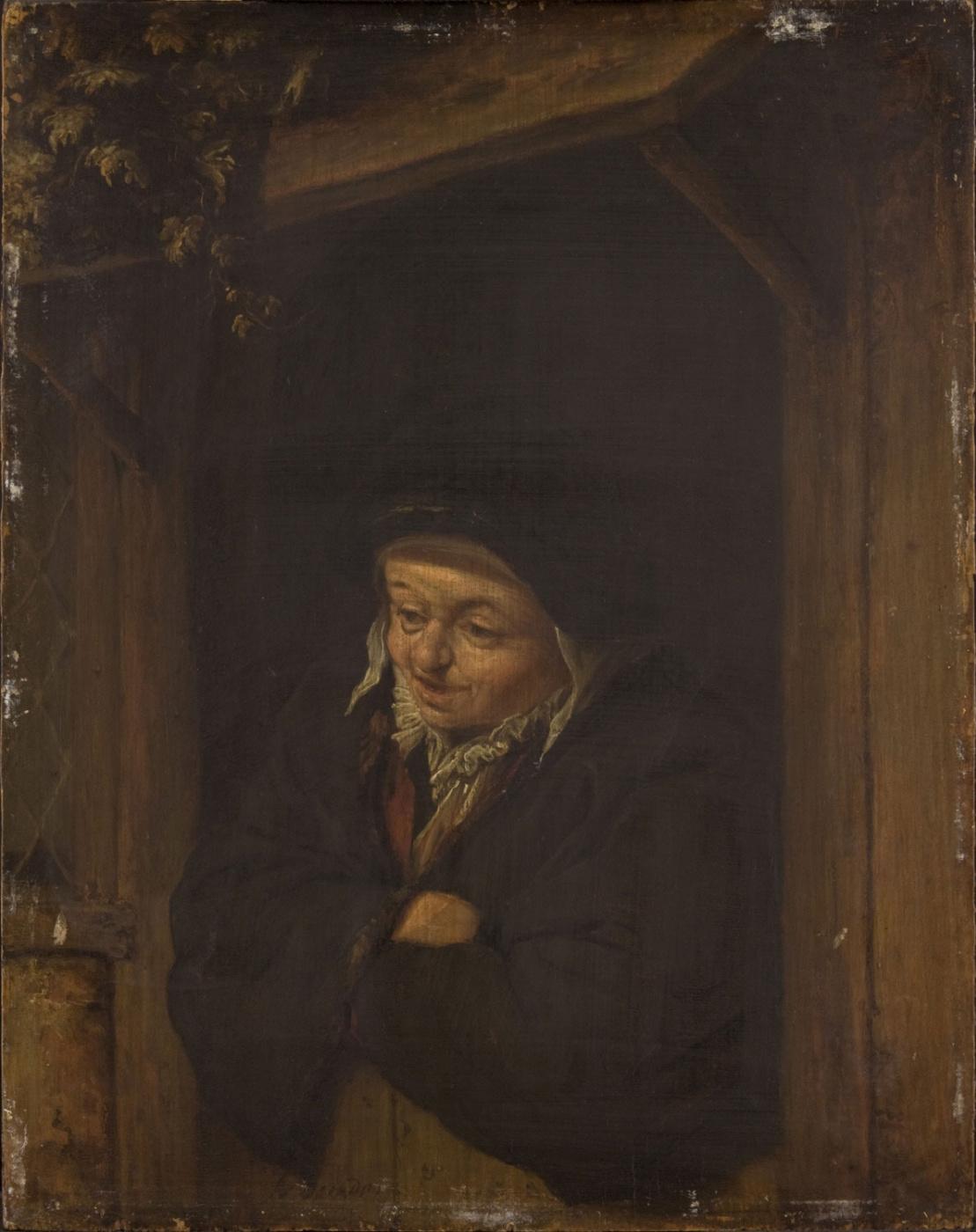 Adrian Jans van Ostade. Woman leaning on open door