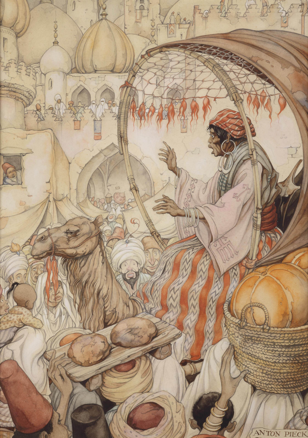 "Anton Pieck. ""The book of the thousand and one nights"". The story of the return Kamakana in Baghdad"