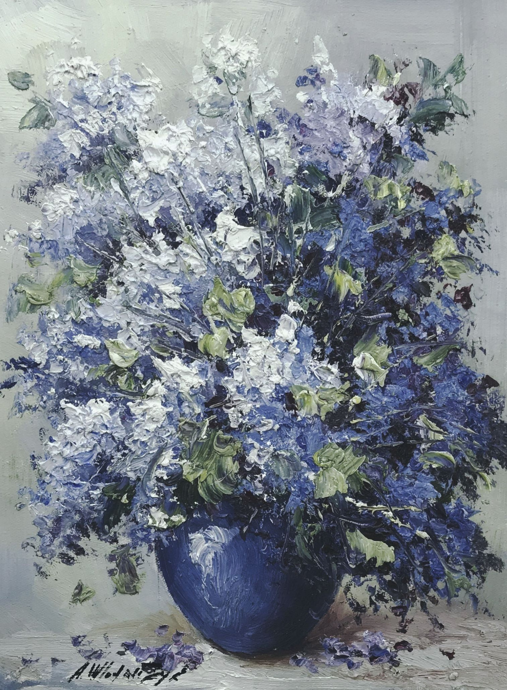 Andrzej Vlodarczyk. A bouquet of lilac in a blue vase