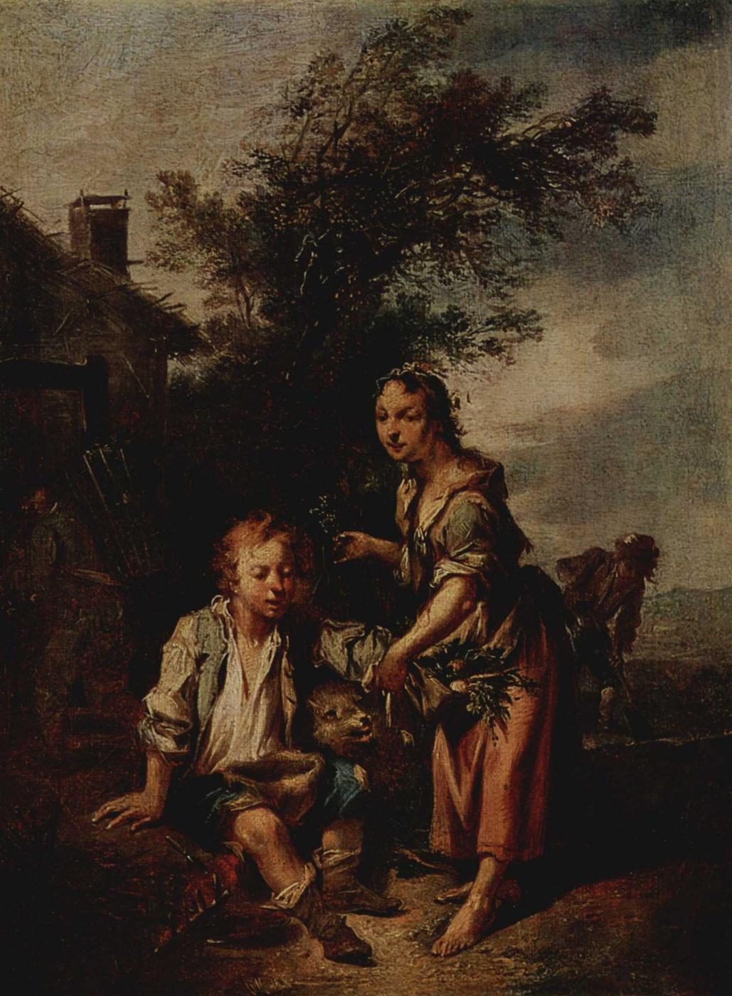 Johann Konrad Zeekac. Girl and beggar