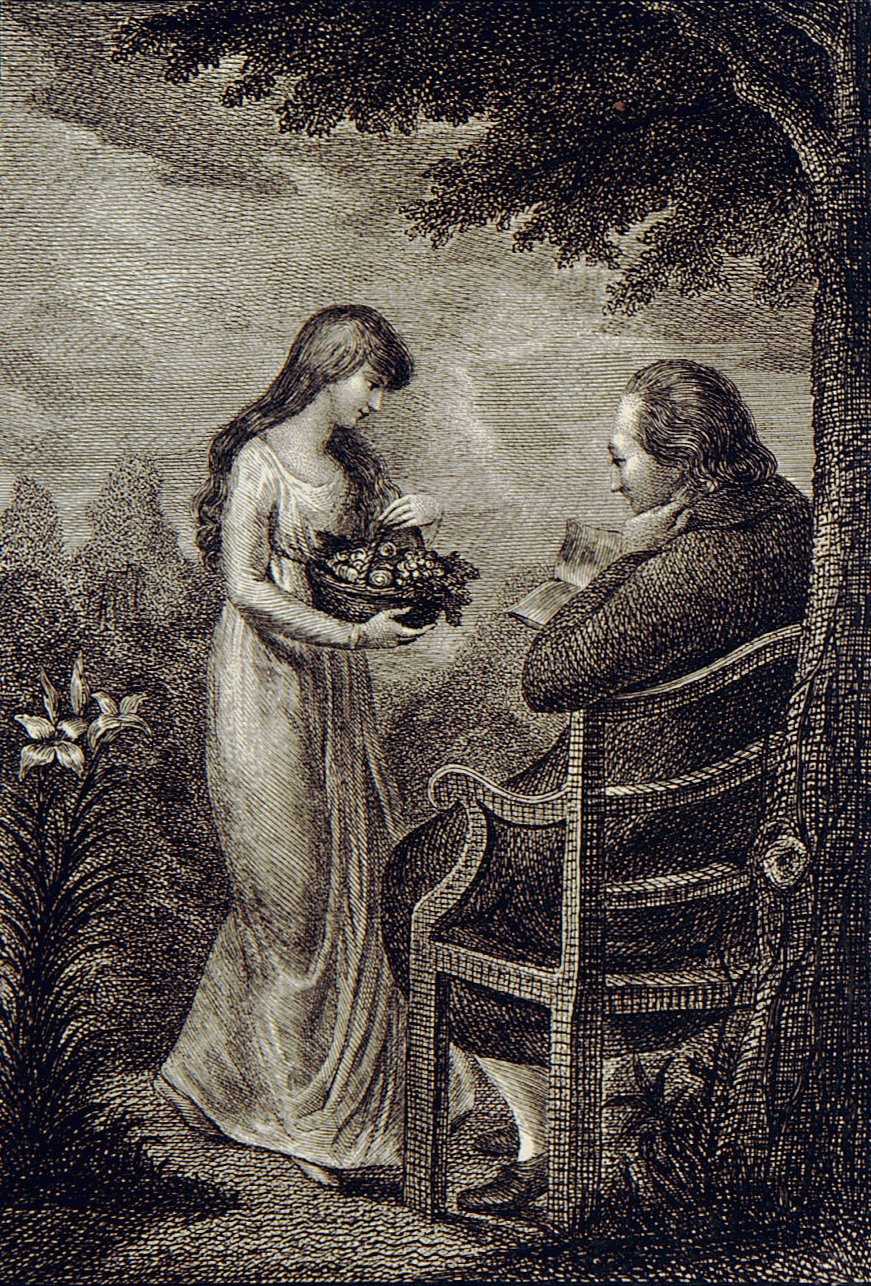 """William Blake. Illustration for the poem by William Hayley """"the Triumph of passion."""" Sheet 1. In the garden"""
