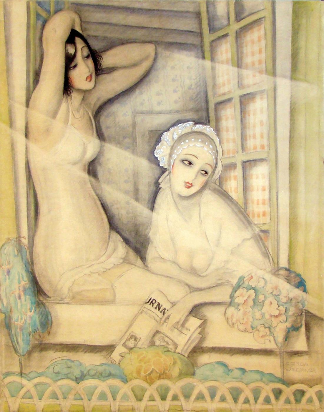 Герда Вегенер. Две женщины в окне