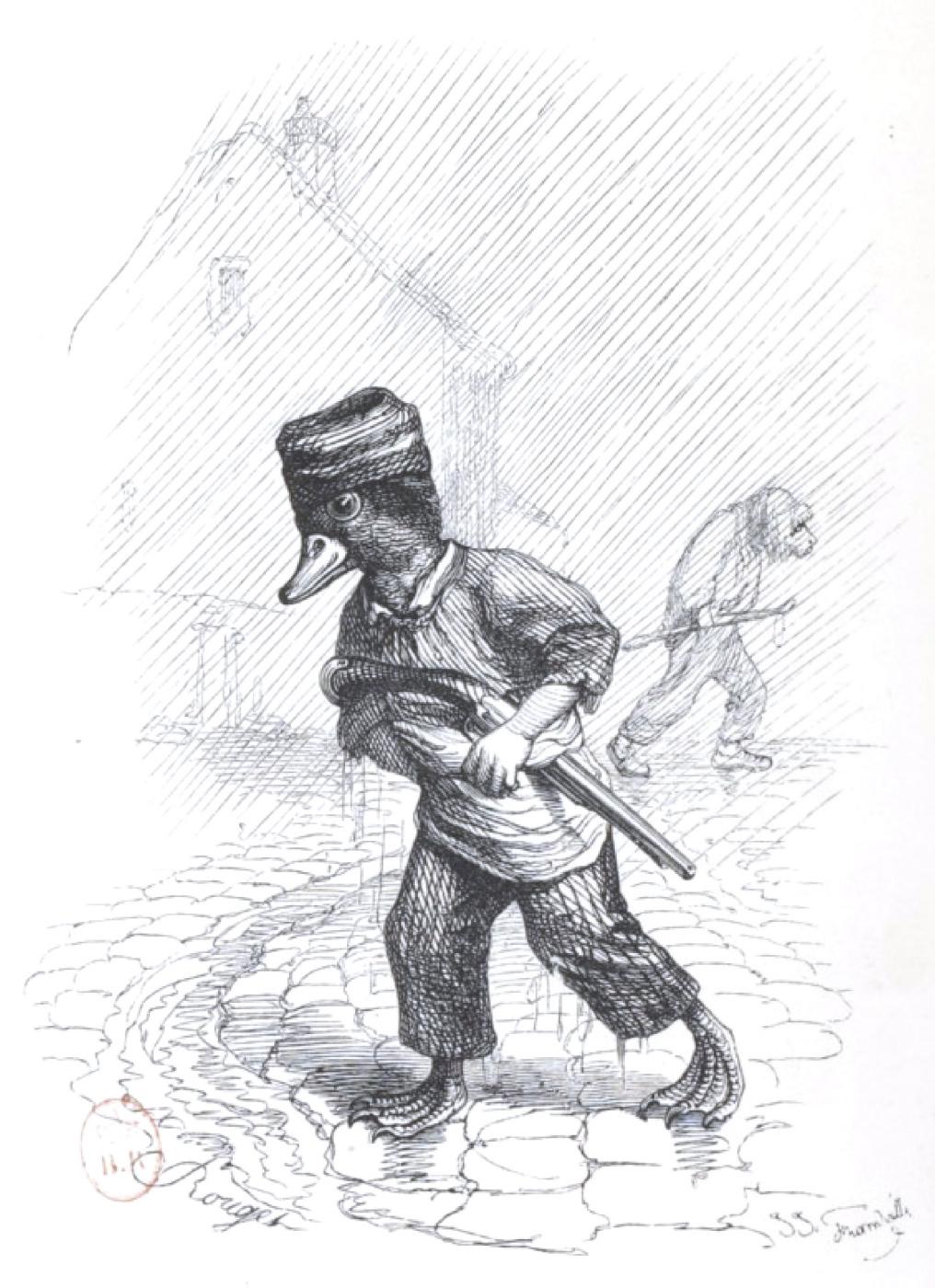 "Jean Inias Isidore (Gerard) Granville. Rain in the city. ""Scenes of public and private life of animals"""