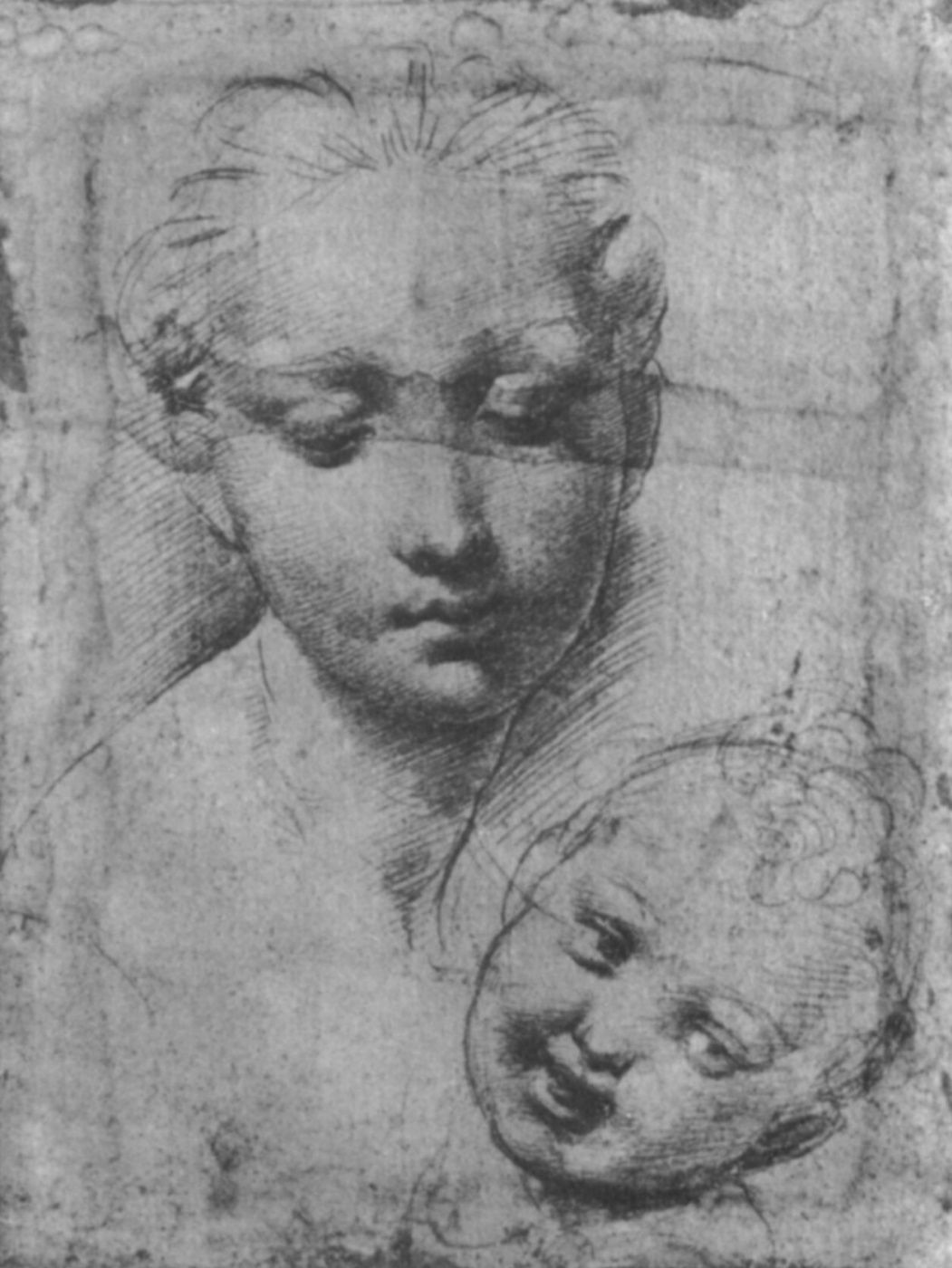 """Portrait of a woman with a child. A study for the """"Madonna Aldobrandini"""""""