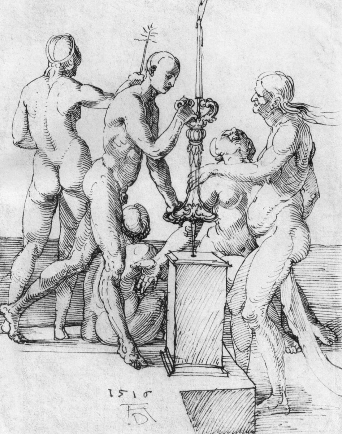 Albrecht Durer. Sketch of five naked figures