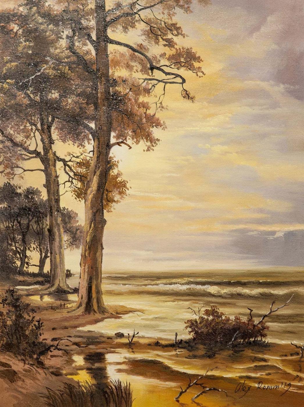 Alexander Romm. Sunset on the shore. In sepia tones