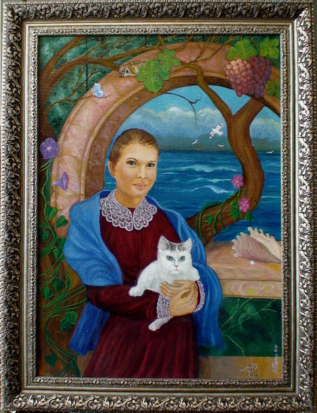 Vladimir Pavlovich Parkin. Portrait of Svetlana Sergeyevna and our cat Pipishki * Portrait of Svetlana Sergeevna and our mother-cat Pipishka