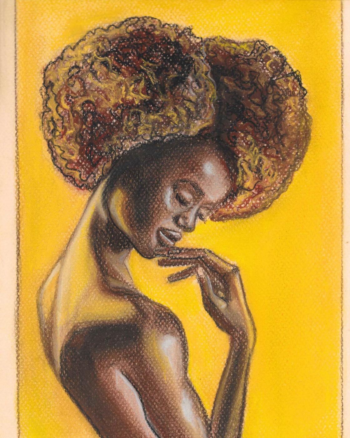 Marina Tumilovich. Woman portrait on yellow background
