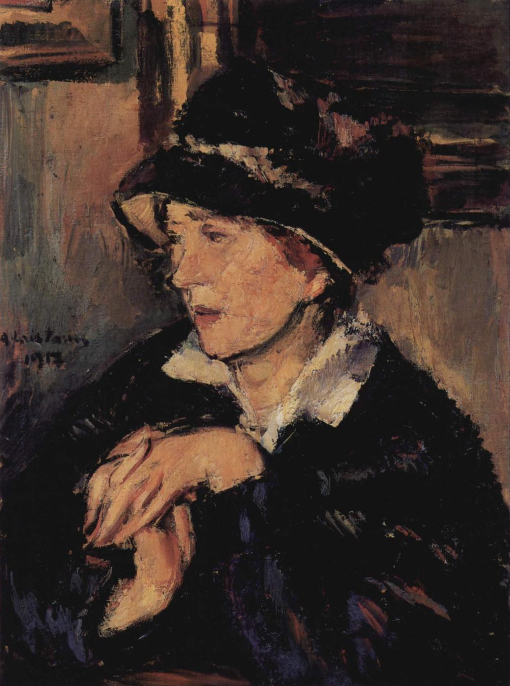 Anton Feistauer. Portrait of a lady in a dark hat