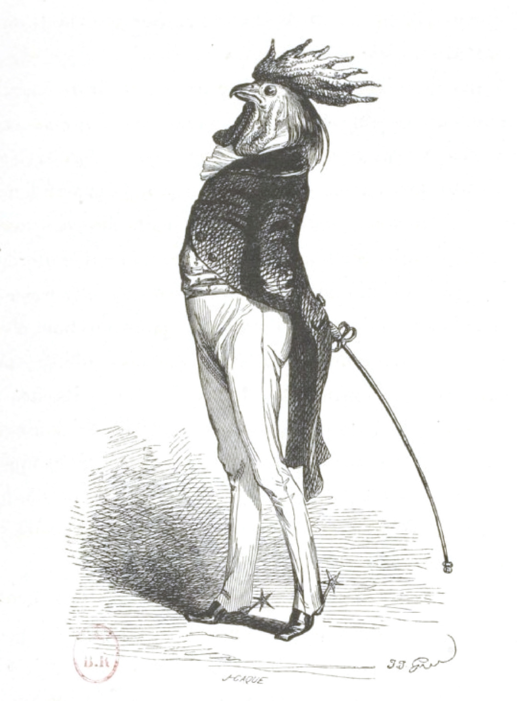 """Jean Inias Isidore (Gerard) Granville. The cock is the most luxurious kind. """"Scenes of public and private life of animals"""""""