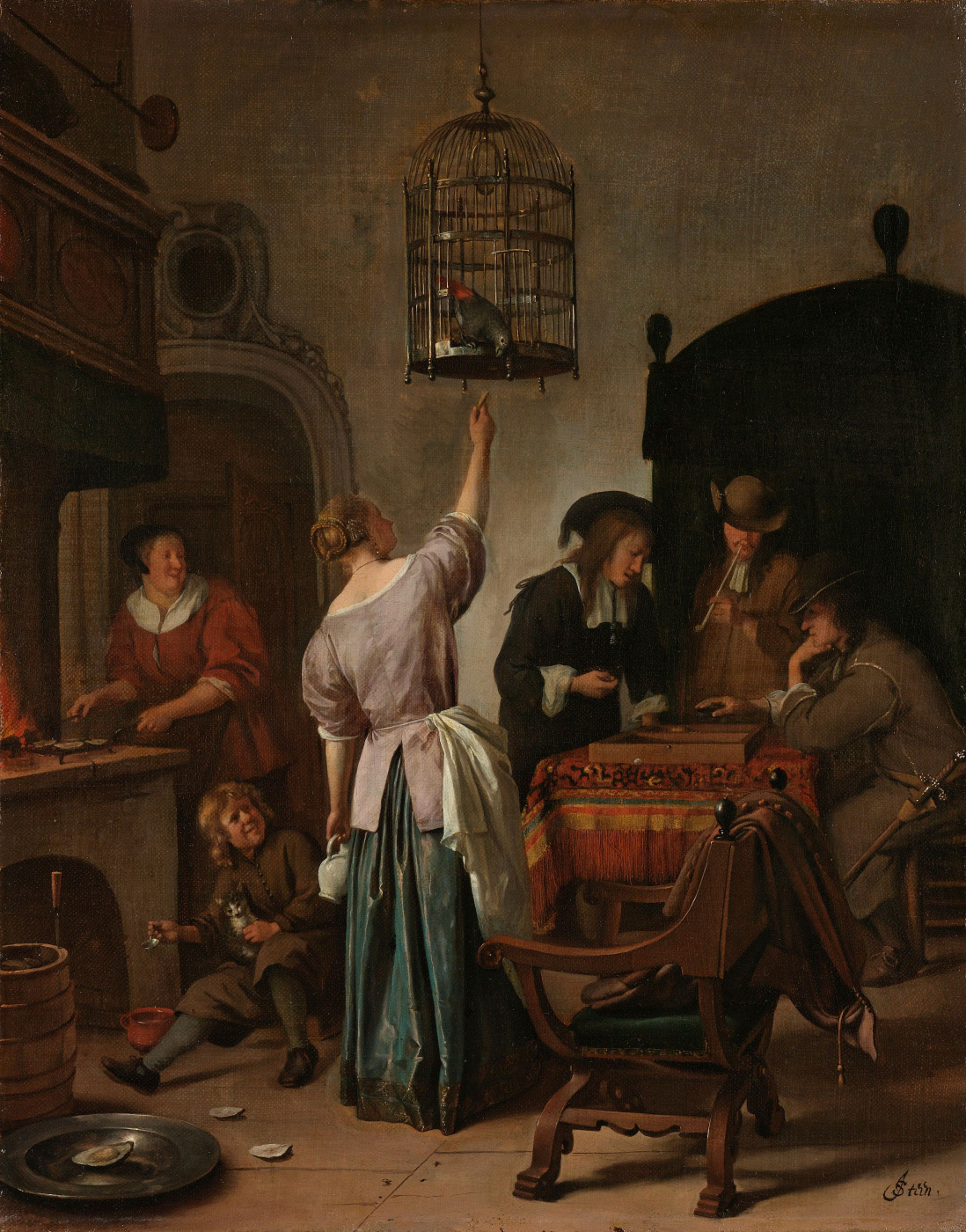 Jan Steen. Parrot cage
