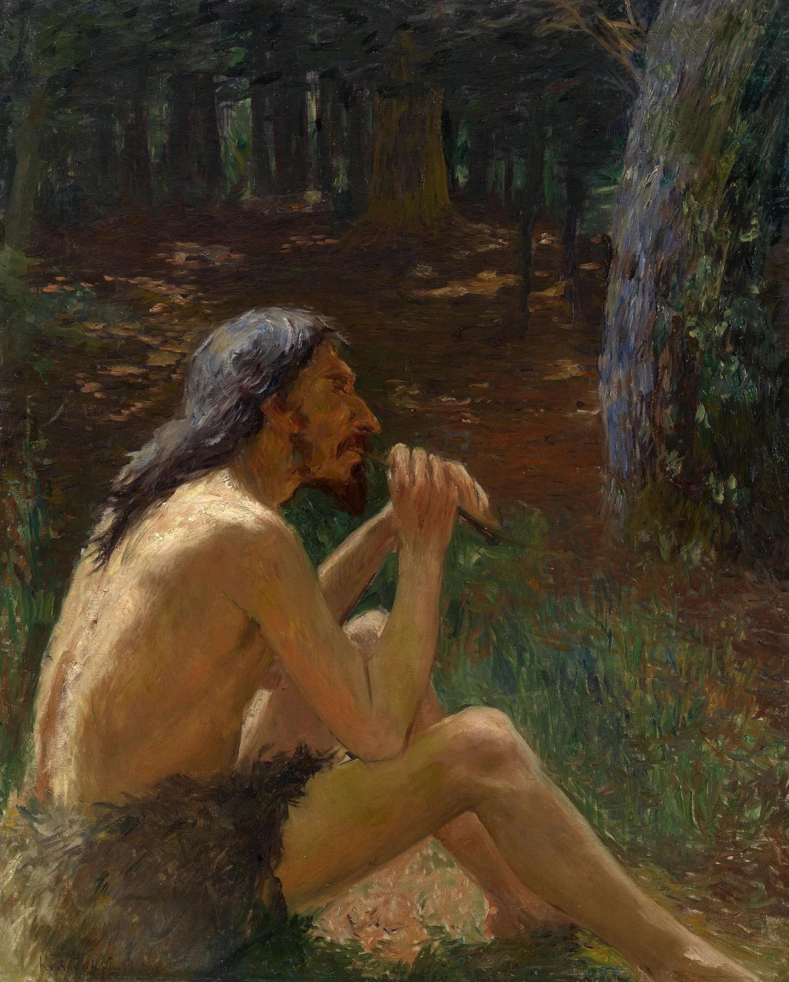 Konstantin Pavlovich Kuznetsov. Caveman playing the flute