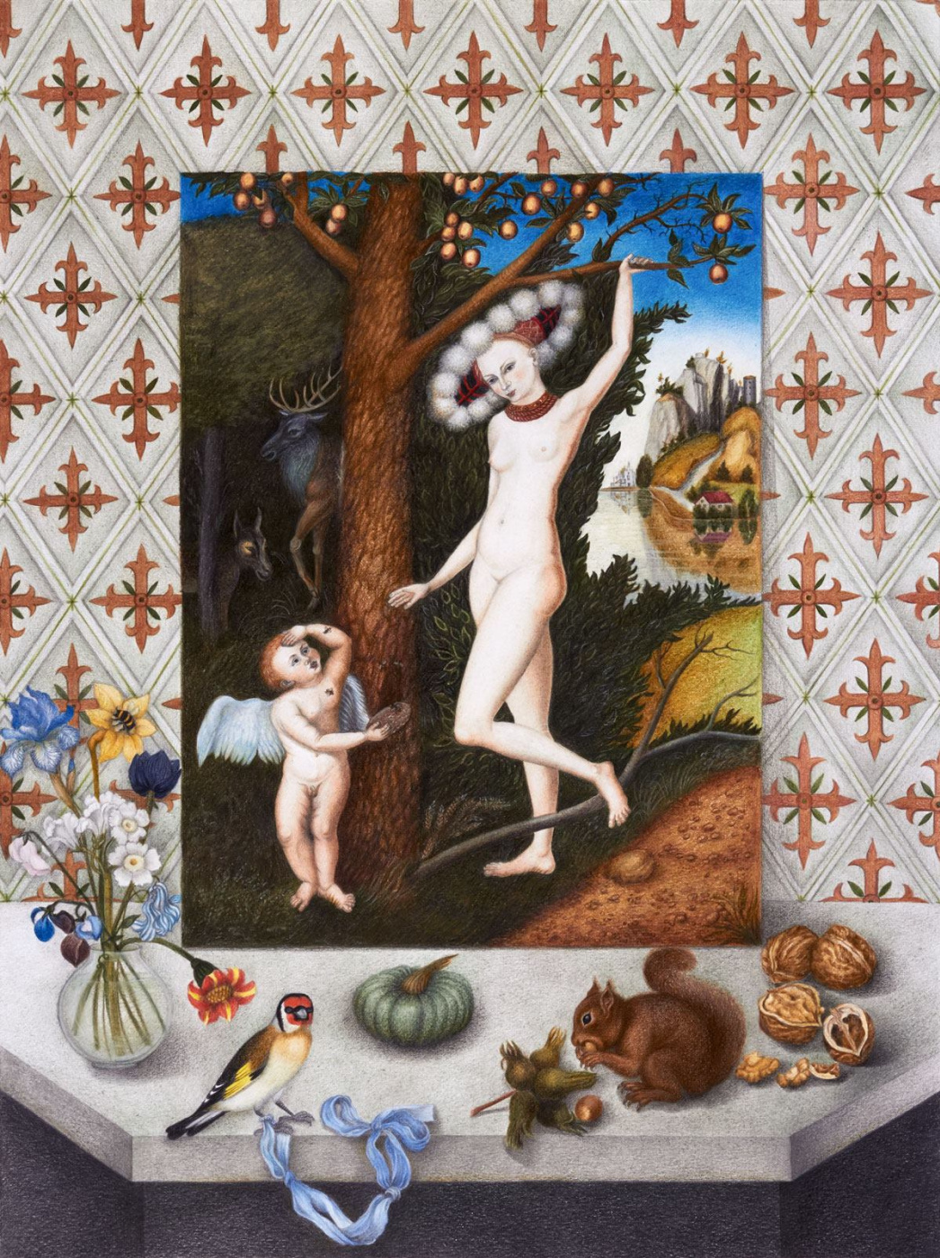 """Olga Alexandrovna Fire. Still life with a painting by Lucas Cranach the Elder """"Cupid Complains to Venus"""""""