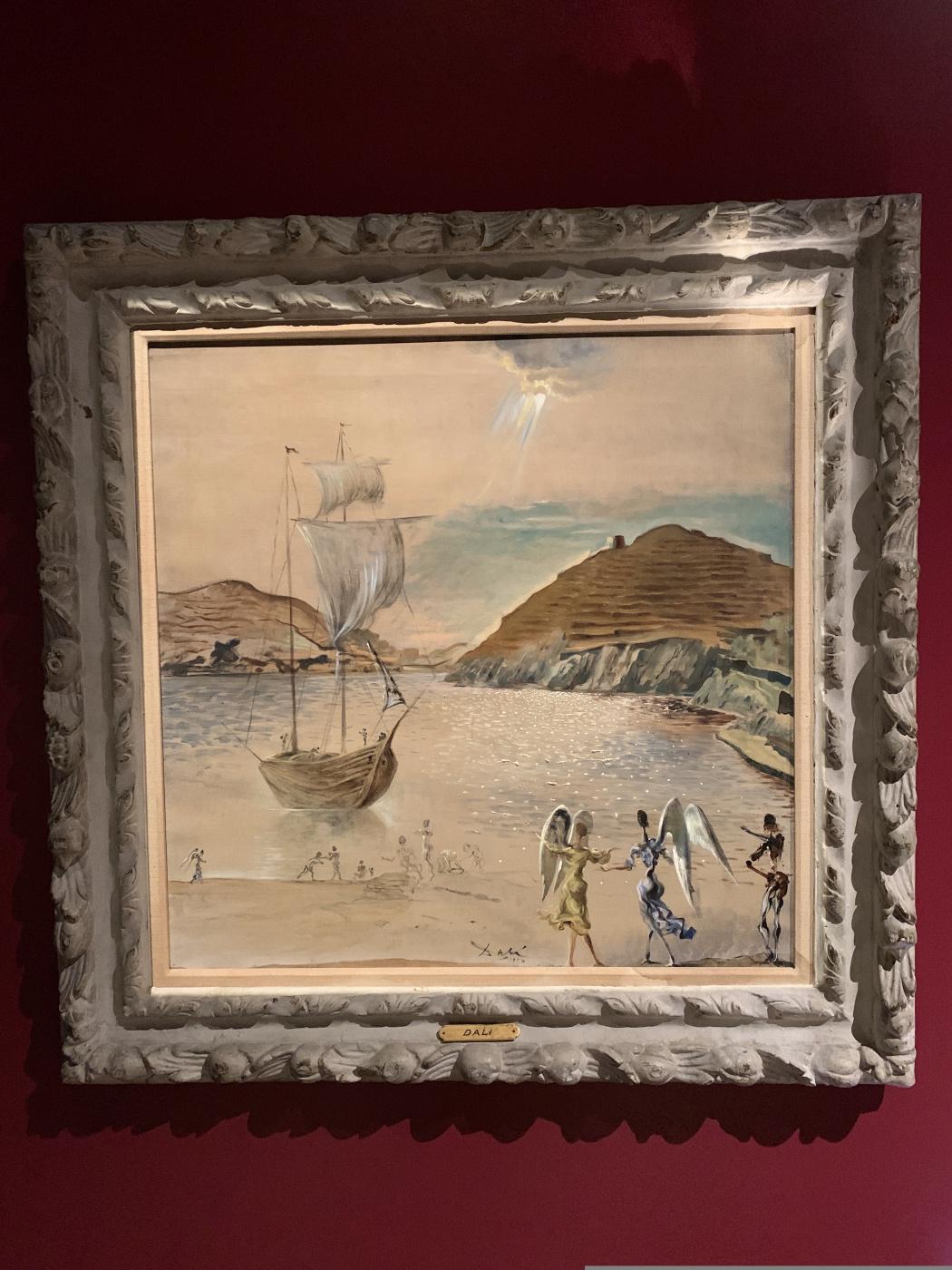 Salvador Dale. Landscape of Port Lligat with familiar angels and fishermen