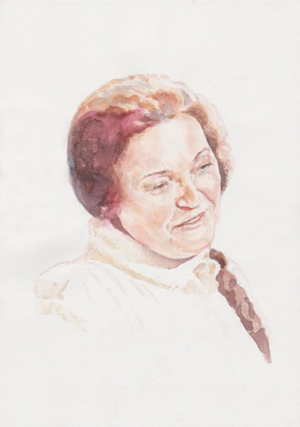 Ivan Alexandrovich Dolgorukov. Watercolor portrait of Altai poetess V.Yu.Zolotaryova