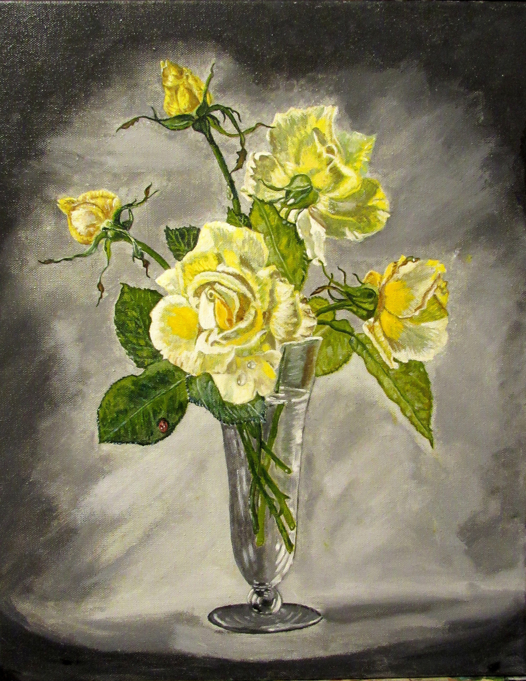 Artashes Vladimirovich Badalyan. Cecil Kennedy. Yellow roses - xm - 50x40 (multi-layered copy)