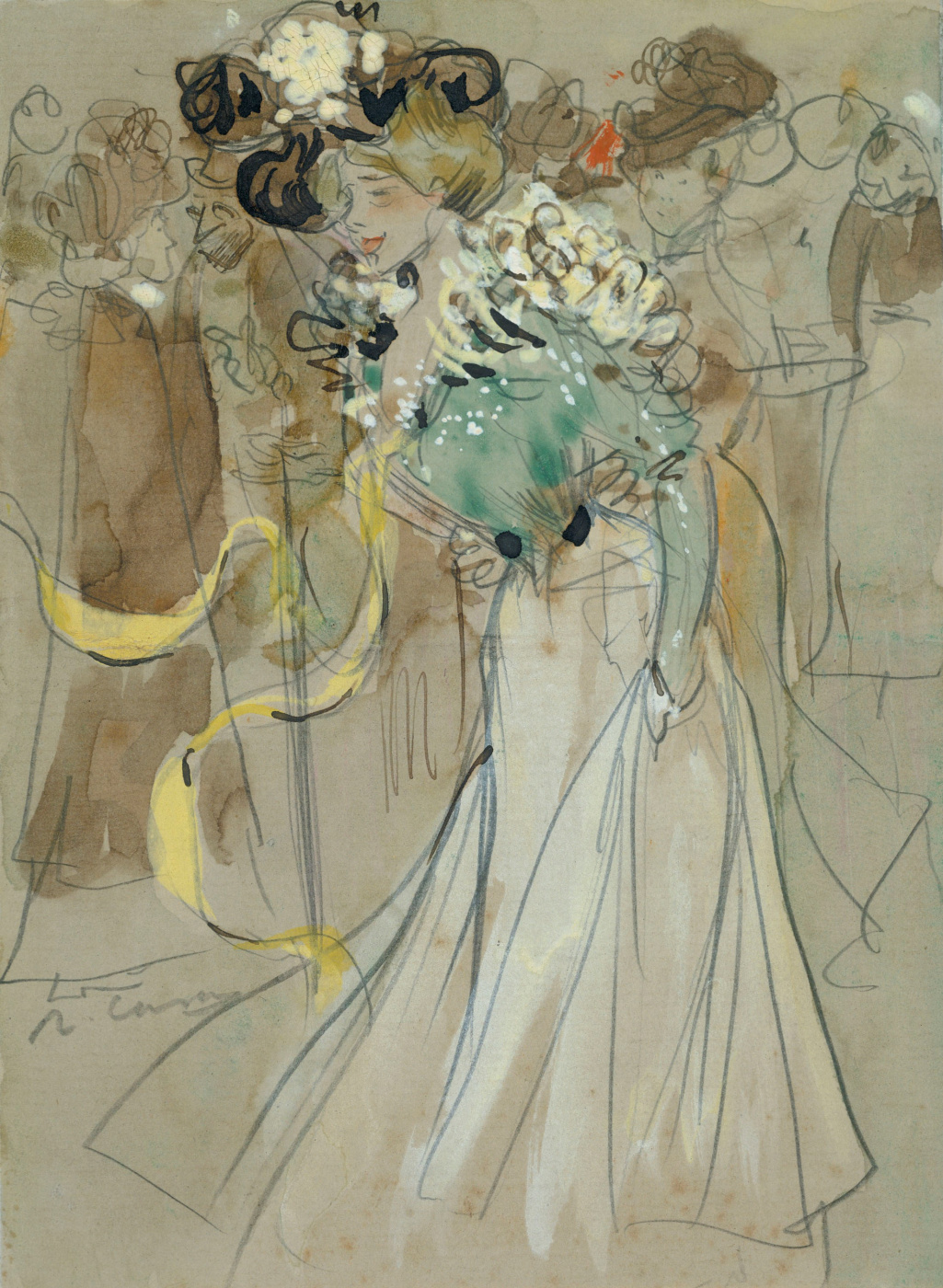 Ramon Casas i Carbó. Festively dressed ladies after a bullfight. Sketch
