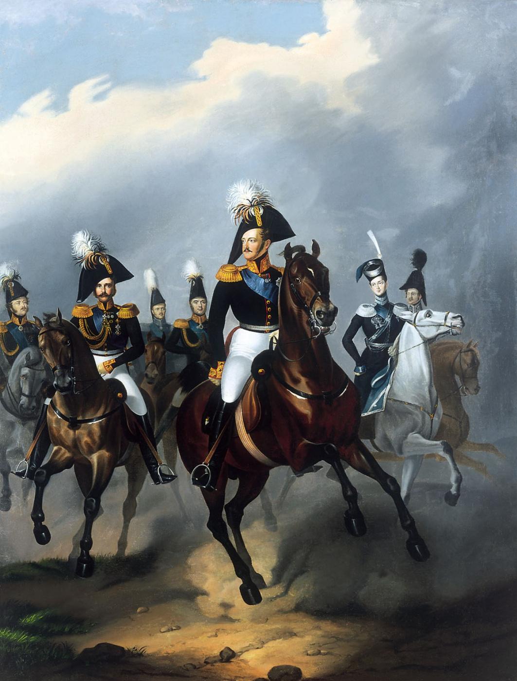Franz Kruger. Emperor Nicholas I and his retinue