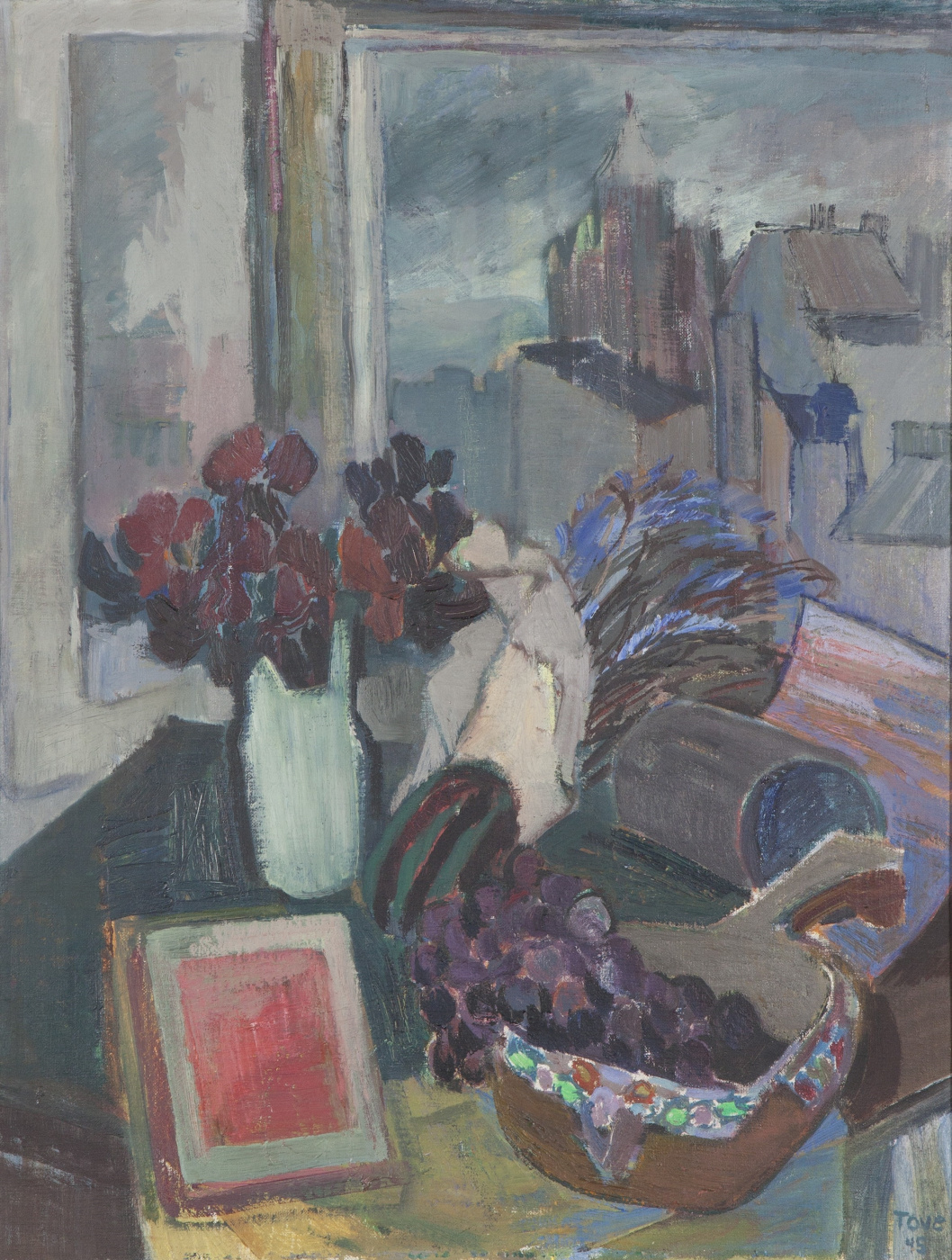 Tove Jansson. Still life on the background of the view of the Assumption Orthodox Cathedral