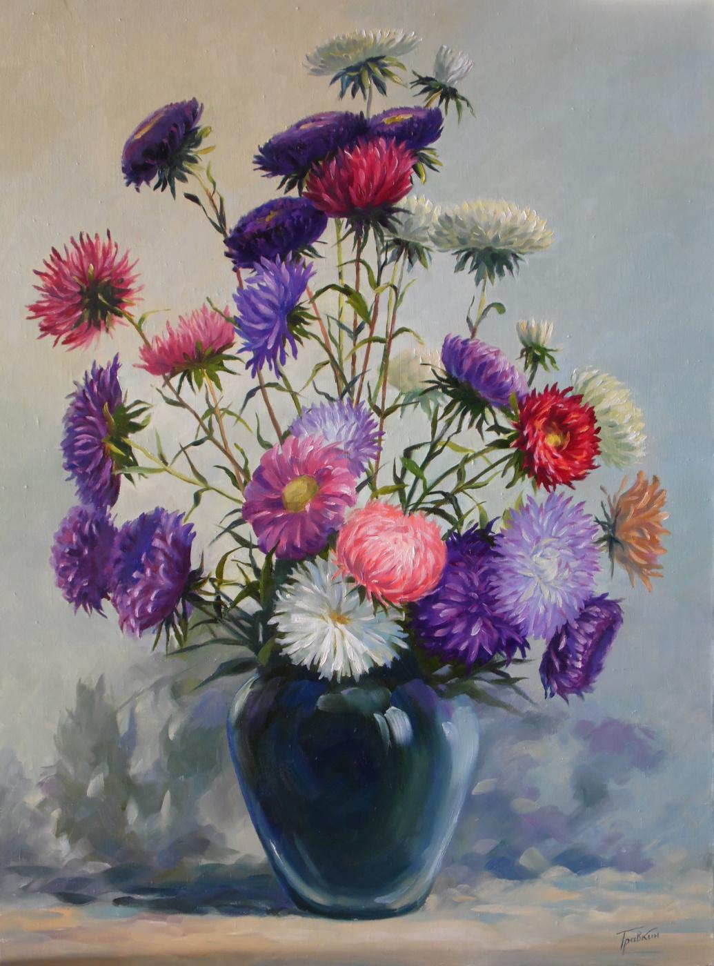 Vladimir Travkin. Late bouquet. Asters.