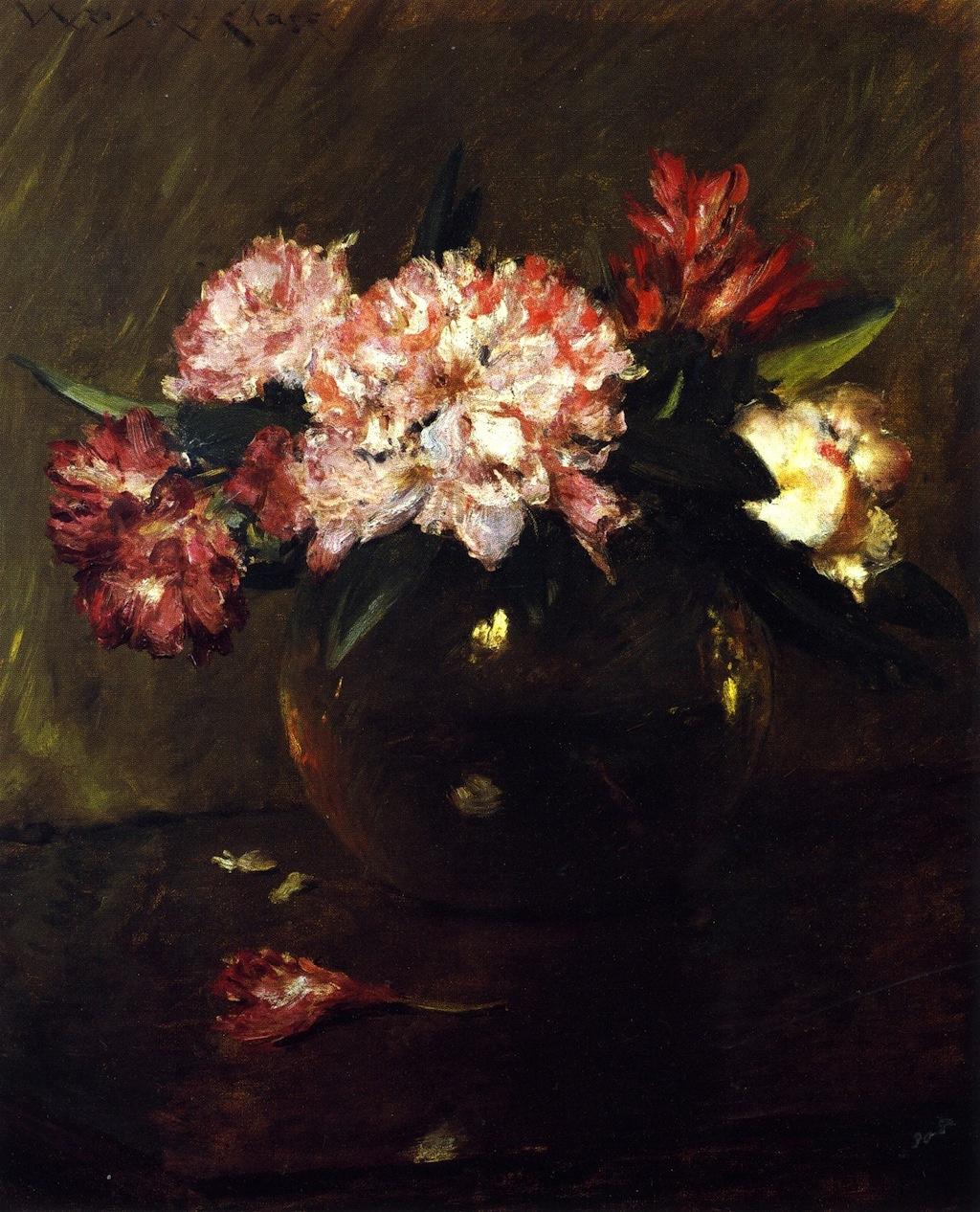 William Merritt Chase. Peonies