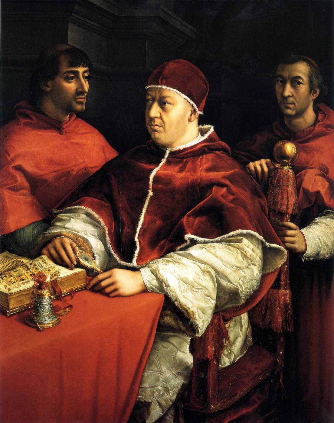 Raphael Sanzio. Portrait of Pope Leo X with Cardinals Giulio Medici and Luigi Rossi.