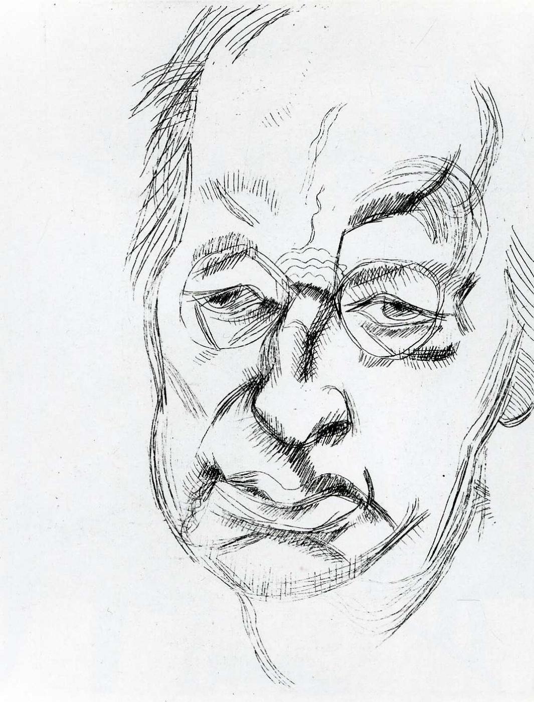 Люсьен Фрейд. Портрет угрюмого мужчины