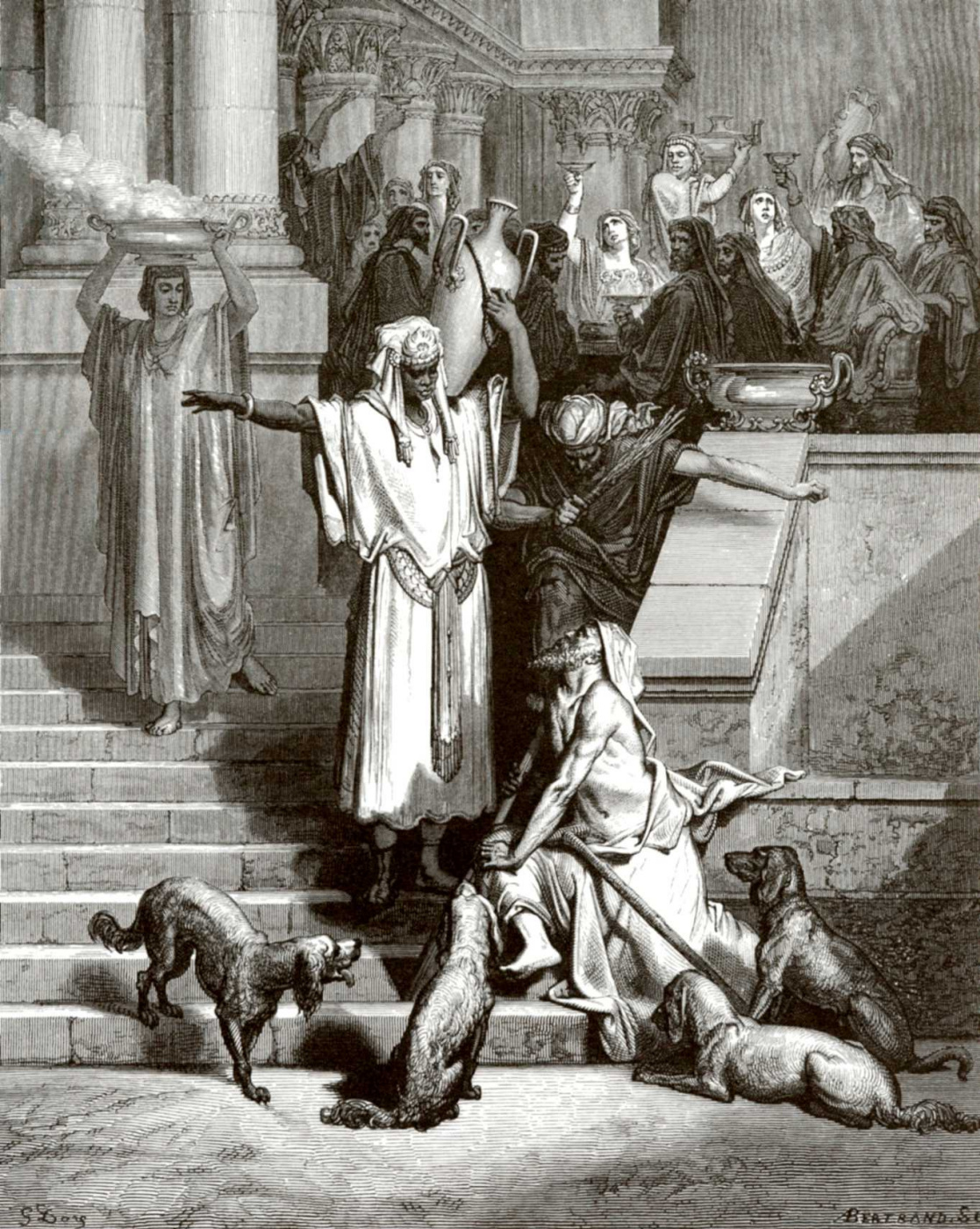 Paul Gustave Dore. Illustration to the Bible: Lazarus and the rich