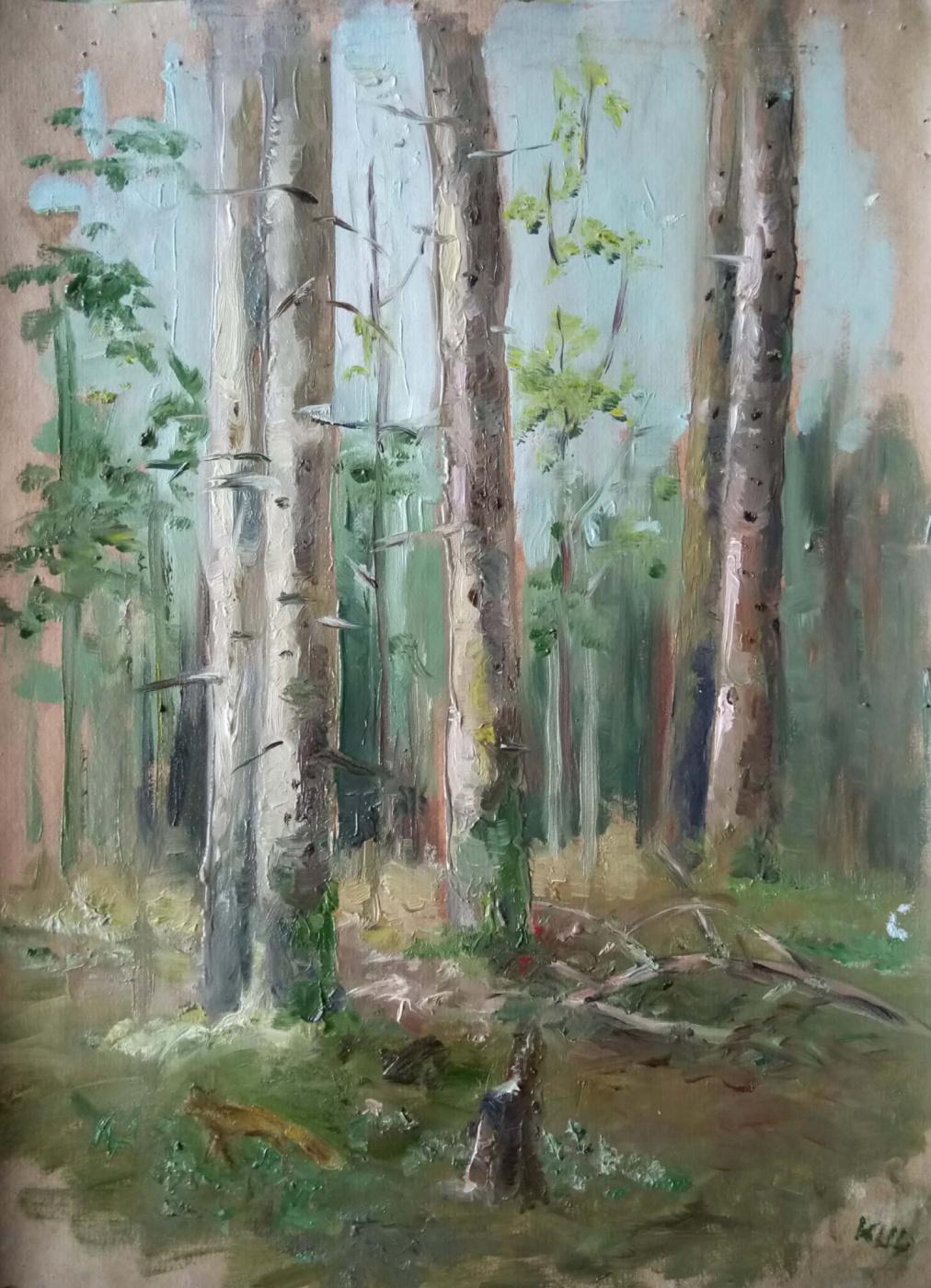 Christina Shchekina. Forest in spring, sketch
