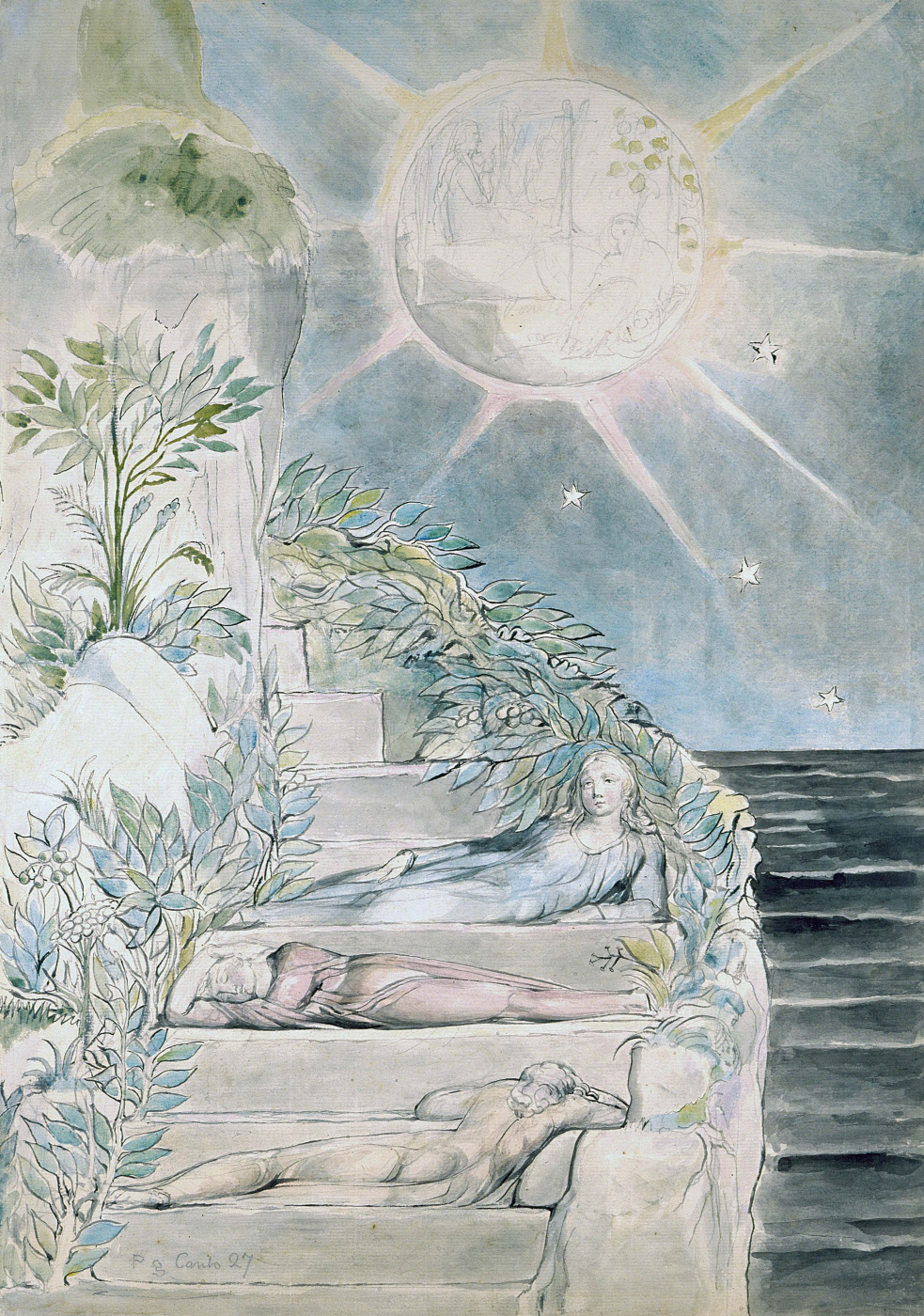 "William Blake. Dante sleeps under the supervision of Virgil. Illustrations for ""the divine Comedy"""