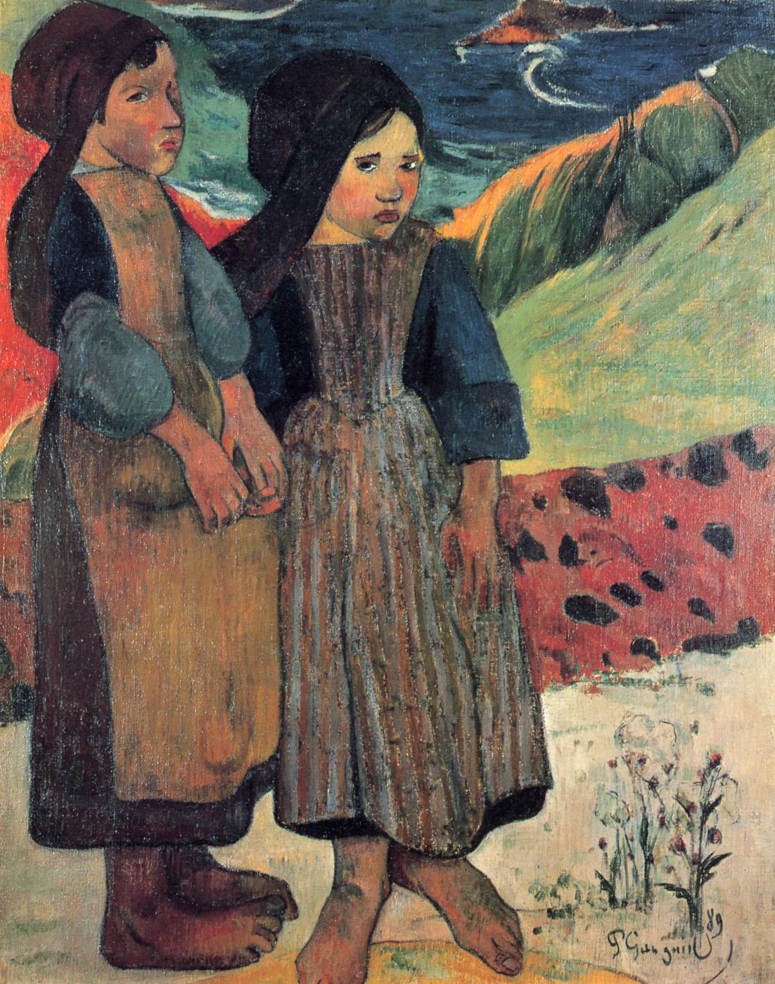Paul Gauguin. Little a Breton by the sea