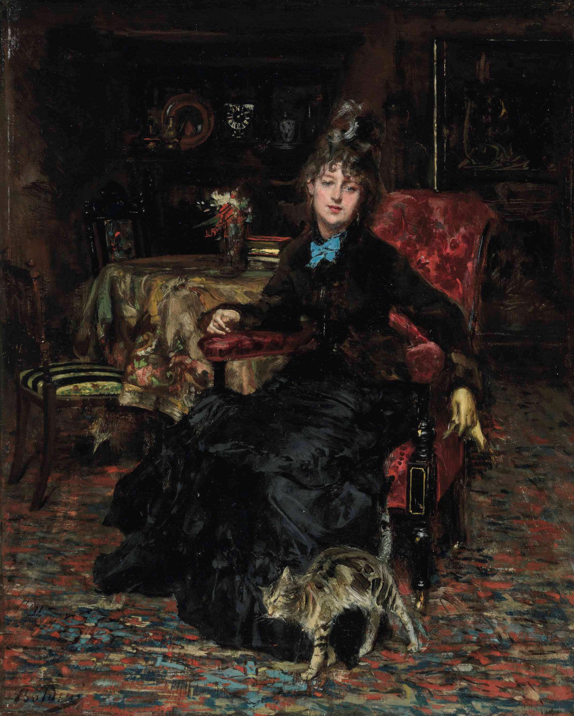 Giovanni Boldini. Seated woman with a cat